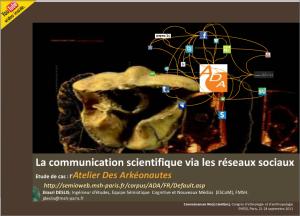 La communication scientifique de l'Atelier Des Arkéonautes sur la plateforme SlideShare (1)