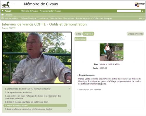 Chapitrage de l'archive audiovisuelle Coitte Civaux